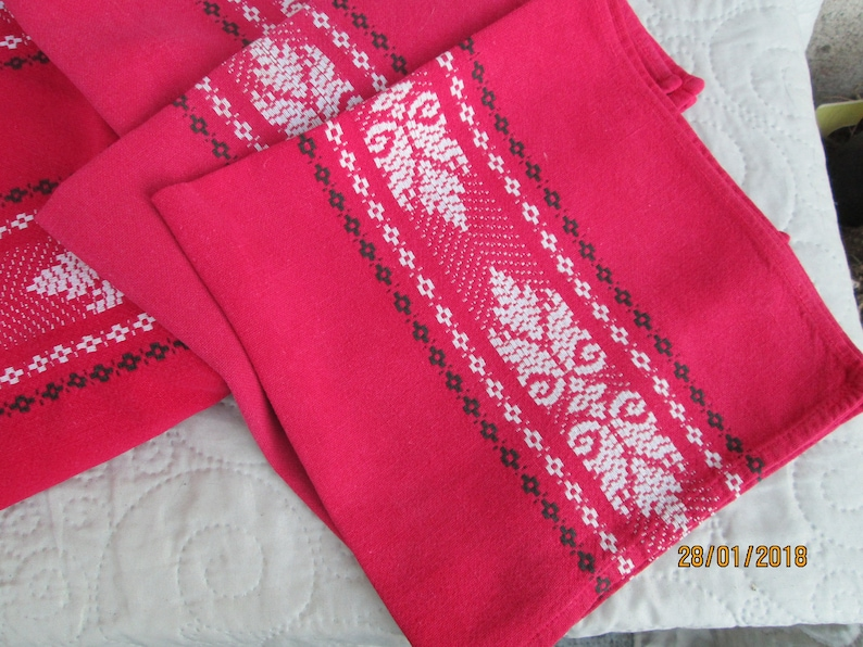 Vintage French Tablecloth vintage cloth napkins French linens cotton tablecloths red table linens