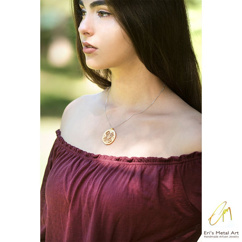 Rose gold coin charm Ancient Greek coin charms Gold coin charm Labyrinth coin