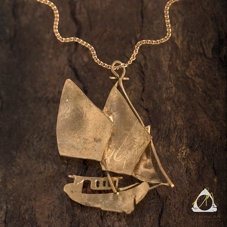 sailing jewelry nautical jewelry everyday necklace pendant necklace novelty gift idea Handmade boat pendant in bronze and alpaca