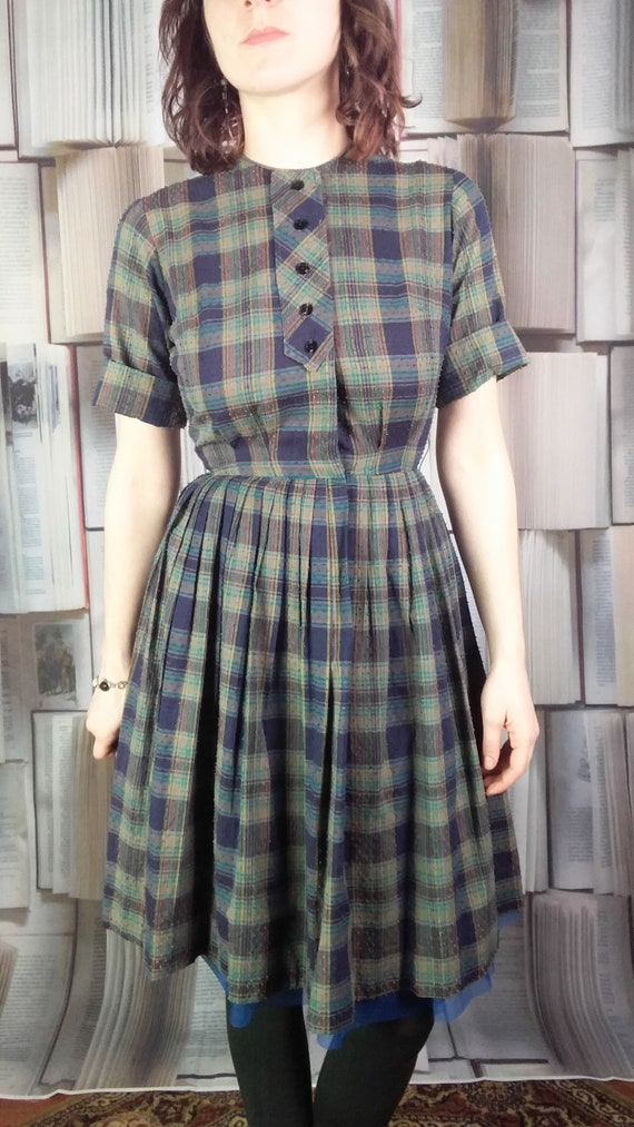 True vintage Teena Paige Junior shirtwaist plaid d