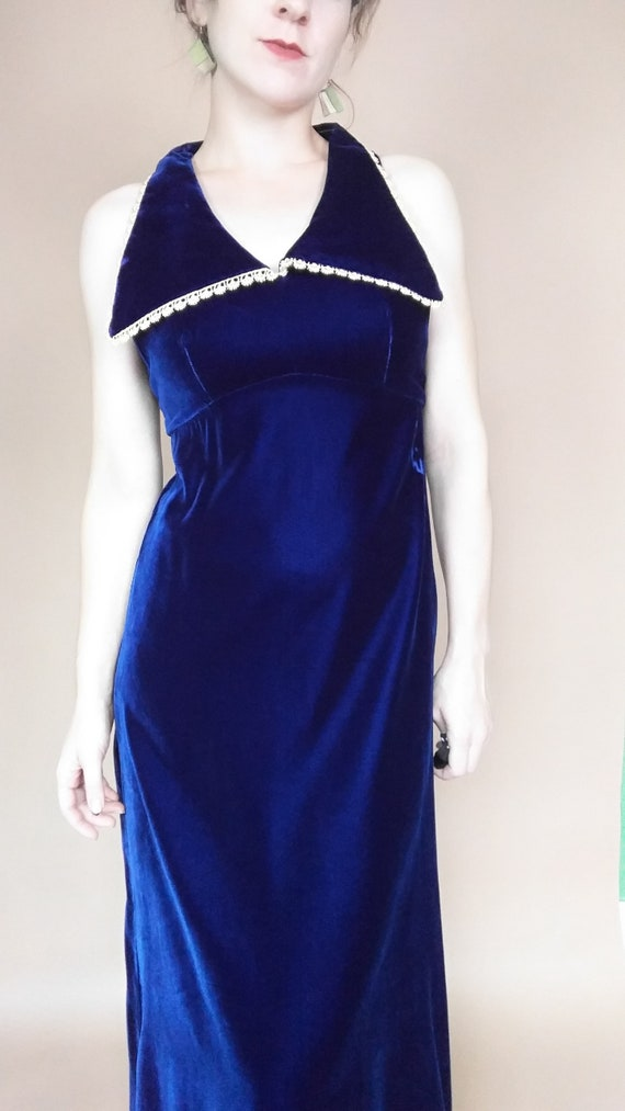 1970's Velvet Blue Collared Maxi Dress