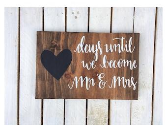 Rustic Wooden Wedding Countdown Sign