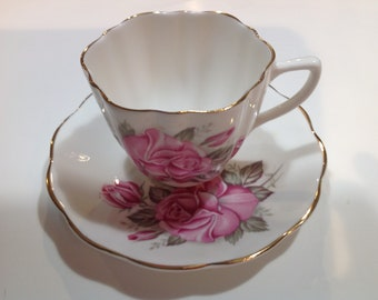 Hamilton Bone China Teacup and Saucer, Made in England, Pink Rose Pattern
