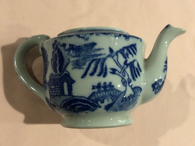 Blue and White Toy Size Tea Pot and Sugar Bowl Made in Japan