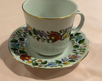 Tea Cup and Saucer, Hand Painted, Kalocsa. Hungary, Decorated with a Multicolored Floral Garland, No. 0061