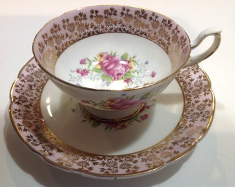 Woodlands Genuine Bone China Tea Cup and Saucer, Pink Peonies