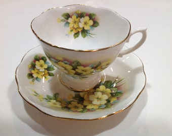Royal Albert Bone China Tea Cup and Saucer, White with Yellow Flowers