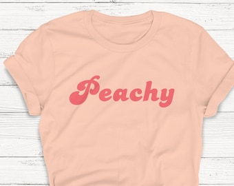 89b3d43ff320 Peachy T-shirt, Retro Shirt, 70's Shirt, Women's Crewneck Tee, Vegetarian,  Retro, Vintage Shirt, Summer Top, Women's Graphic Tee