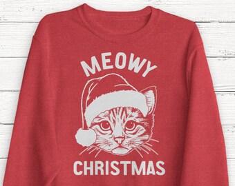 christmas cat shirt etsy