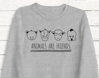 Animals Are Friends Sweatshirt - Vegetarian - Tee Shirt - Plant Based - Animal Lovers - Vegan - Vegetables - Fruit - Pets - Animal Rights