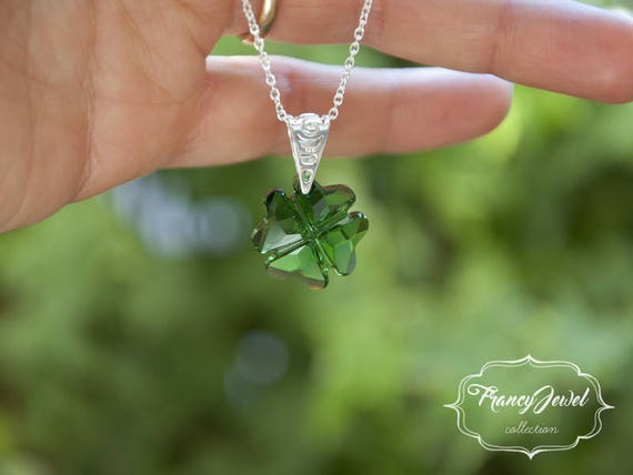 Four leaf clover, green crystal, lucky gift, 925 sterling silver, Swarovski crystal, handmade jewelry, wedding jewelry, birthday gift