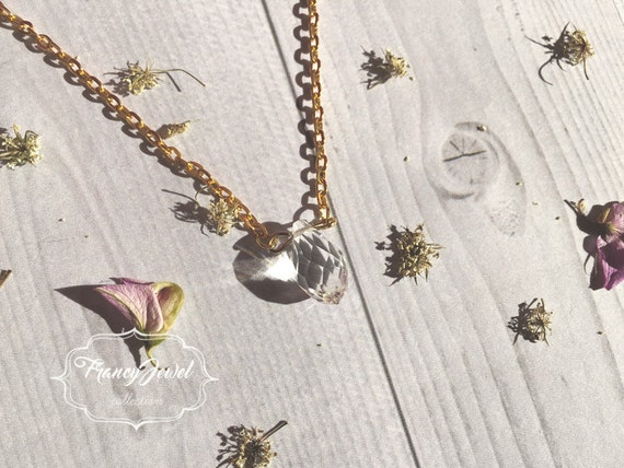 Transparent crystal necklace, precious stone, natural stone, gold necklace, crystal pendant, romantic, wedding gift, bridesmaid gift
