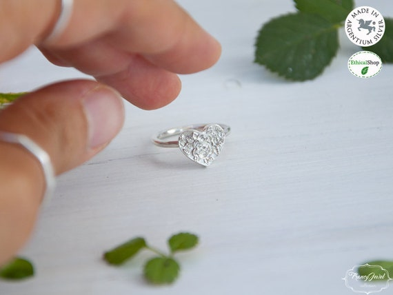 Rose ring, Bohemian ring, romantic ring, Argentium ring, heart with rose, maxi ring, handmade ring, made in Italy, birthday gift, wedding