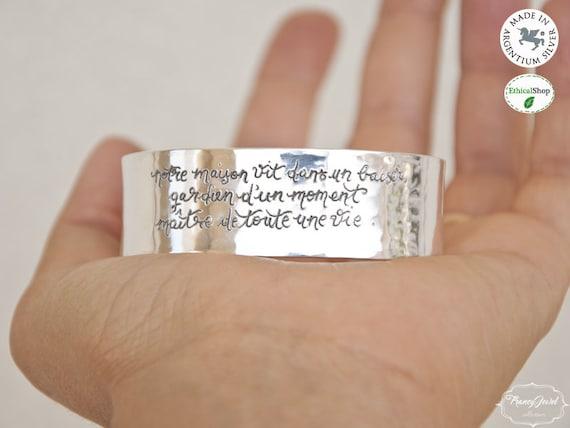 Inspirational cuff, custom jewelry, anniversary gift, custom quote, handmade bracelet, engraved jewelry, handmade jewelry, made in Italy