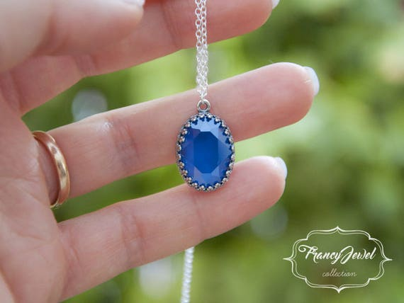 Mother's day, mother's gift, Swarovski necklace, Royal Blue crystal, 925 sterling silver, handmade jewelry, wedding jewelry, birthday gift