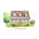 Custom house portrait, family portrait, first anniversary gift, handpainted watercolor, realtor gift, housewarming gift