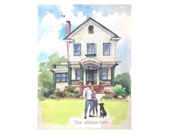 Custom house portrait, paper anniversary, family portrait, hand painted