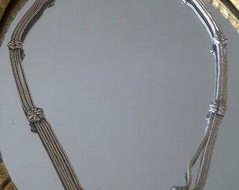 Art deco style-crew neck vintage multi chain Silver 925 - necklace - gift - anniversary - Present - Valentines day