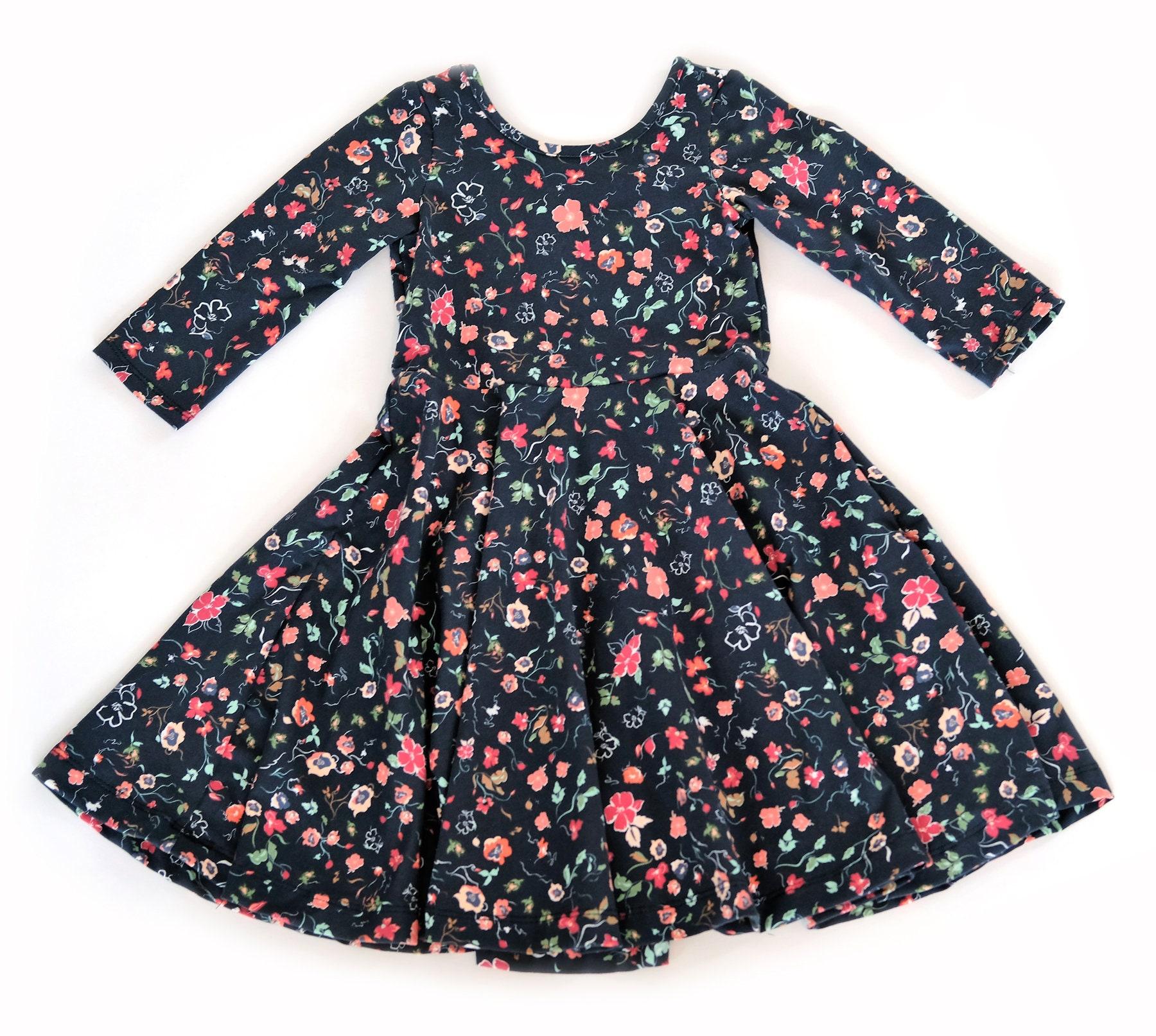 5e888b0fff 3 4 Sleeve Skater Circle Dress Twirl Toddler Girls Kids Meadow