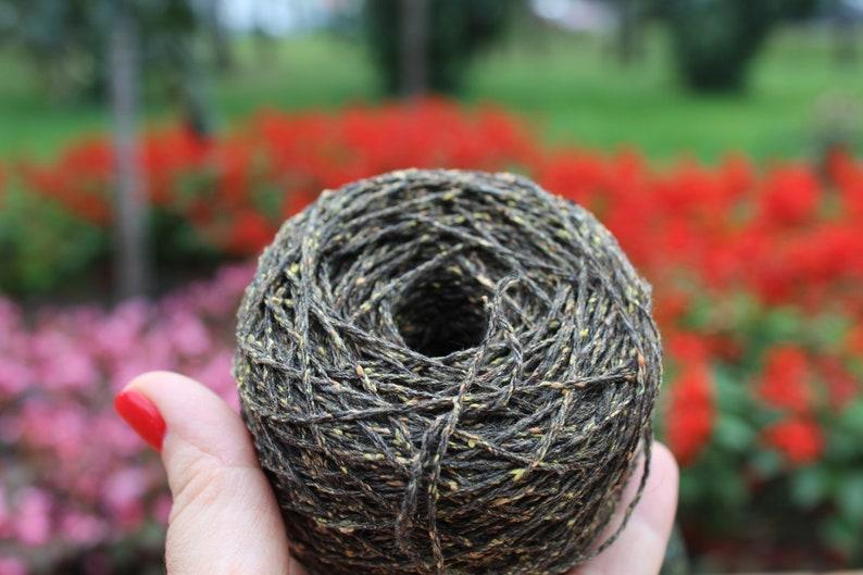 per cone 383 yrds Donegal like tweed yarn hand knitting yarn Merino silk tweed yarn on cone olive green tweed