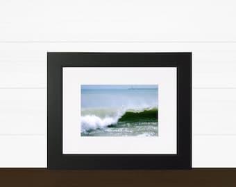 ocean wave jetty art print, splash and bubbles, ship safe harbor, wave print, ocean art, sailboat, shore, rocks, interior design