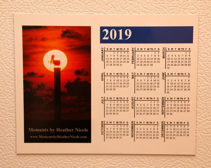2019 Year At-A-Glance Magnetic Calendar - Pelican Sunset