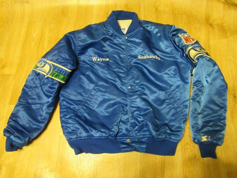 release date: d6ce6 4e146 Vintage Seahawks Starter Jacket Satin Proline Large   Etsy