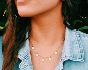 Tiny Gold Coin Necklace /Gold Medals choker /Golden Gypsy Medals Necklace /Gold Mini Coins Choker /Dainty Necklace /Gold Disc Necklace