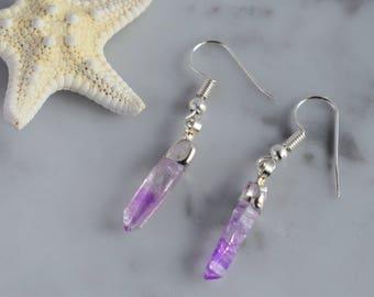 Raw Amethyst earrings, Raw quartz earrings, Raw crystal silver earrings, Amethyst lover, February birthstone, Amethyst earrings,Gift for her