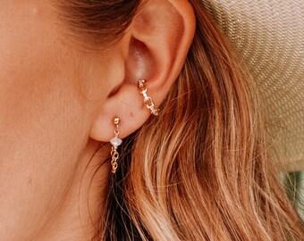 Long Gold Chain Earrings \u2022 Stud Chain Earrings \u2022 Wedding Earring \u2022 Long Dangle Earrings \u2022 Gold Falling Earrings \u2022 Gift For Her