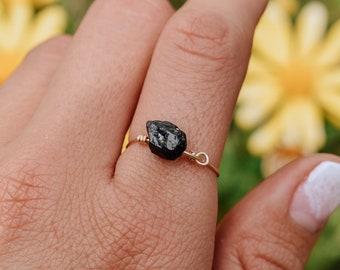 Rough Black Tourmaline Mens Ring Womens Ring Black Tourmaline Ring Schorl Tourmaline and Bronze Ring Raw Black Tourmaline Bronze Ring