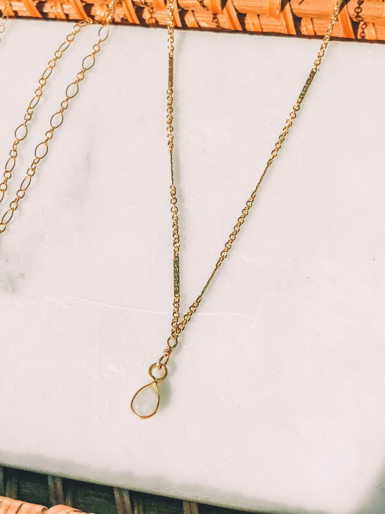 Dainty Necklace Moonstone Necklace Gold Moonstone Necklace Moonstone Crystal Necklace Gift for her