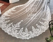 Custom Long Cathedral Length wide lace veil, Custom Veils, Wide lace veil, long bridal veils, Royal Veils, Veils