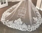 Rhinestone thick wide lace royal length bridal veil, long veil, royal length veil, bling veil, custom veil, custom design, veils