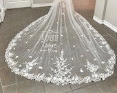 2 layer floral lace Cathedral Length veil, long lace floral veil, cathedral lace veil, blusher veil, flower 2 layer veil