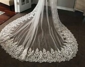 Unique Floral Wide Lace Wedding Veil, Long Veil, Cathedral Length, Wide Veil, Lace Veil, Weddings, Unique Lace veil, Custom Veils,Thick Lace