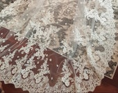 Custom cathedral lace veil, Lace Applique Veil, Wide lace veil, Light Ivory lace Veil, Long Veil, Bridal Veil, Weddings, Unique Bridal Veil