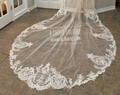 Gorgeous Scallop Floral long lace cathedral veil, Thick lace Veil, Unique floral scallopped veil, Cathedral length Veil, Royal length veil