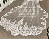 Unique scalloped sequined lace veil, martina liana inspired veil, Long scalloped lace veil, cathedral length veil, sequin lace veil, veils