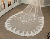 SALE- Simple Scallop lace Veil - Lace Scalloped veil - cathedral scalloped veil - Lace edge veil - Long lace veil - cheap veil