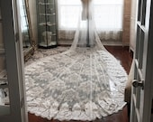 Royal length custom veil, wide lace veil, long lace veil, thick lace veil edge