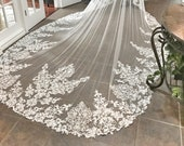 Custom Royal Length Veil, Drop style veil, Mantilla Style Veil, Lace edge Veil, Long veil, Long bridal Veil, Unique Lace veil, Custom Veil,