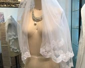 Bright white Double tiered lace wedding veil, sequin lace veil, shirt veil, blusher, 2 layers, bridal veil, custom veils