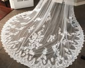 Bright White Custom Lace Veil, Lace edge veil, cathedral length veil, bridal veil, white veil, made to order, comb, veils