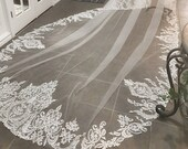 Royal Length Sequined Unique Lace Veil, Drop Style Veil, Custom bridal veil, Cathedral Length Veil, unique wedding veils, lace drop veil