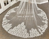 Heavily beaded and Sequined lace bridal veil, shiny bridal veil, Cathedral length beaded veil, custom lace veil, Super shiny veil