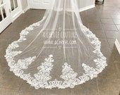 Scalloped Sequined lace bridal veil, shiny bridal veil, Cathedral length lace veil, custom lace veil, Long Lace Veils, Bridal veils