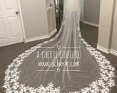 3D Floral Lace Veil, long 3D floral lace veil, flower veil, petal veil, custom veils, cathedral veil