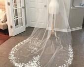 Chapel length lace veil, floral pattern lace, long veil, unique veils, light ivory veil, floral lace veils