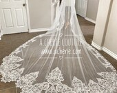 Clara- unique embroidery lace scaloped veil, mantilla veil, long veil, cathedral Veil, ready for shipping, lace veil